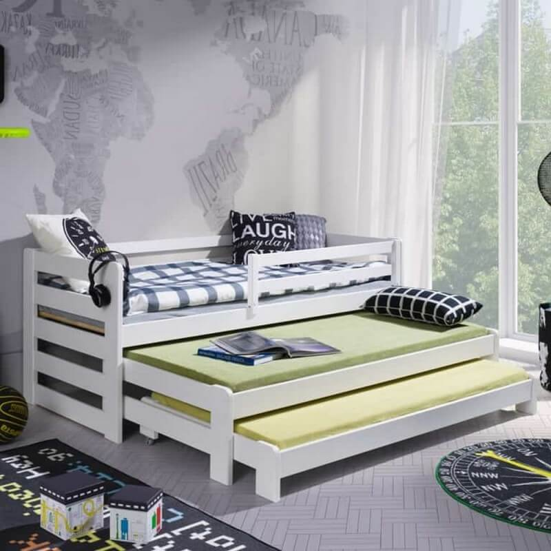 lit gigogne rico 3 places couleur blanc pin massif. Black Bedroom Furniture Sets. Home Design Ideas