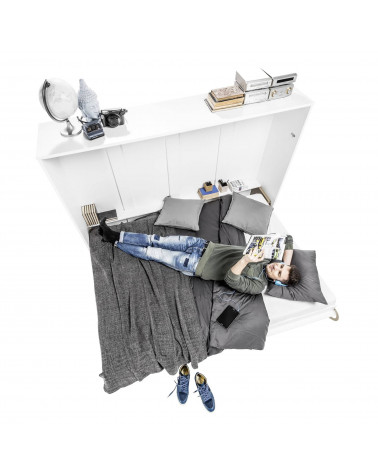 Lit armoire escamotable vertical - blanc