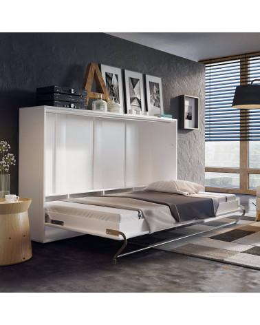 Lit armoire escamotable horizontal - blanc mat ouvert