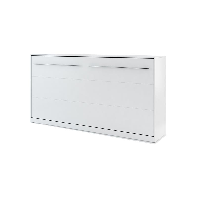 Lit armoire escamotable horizontal - blanc mat 90x200
