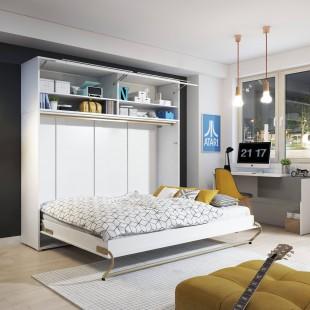 Lit armoire escamotable horizontall - blanc brillant ouvert