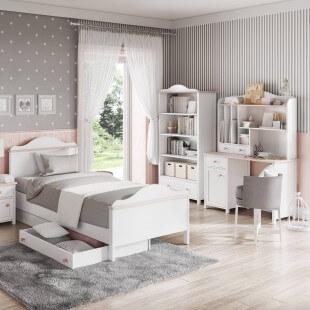 Bibliothèque rose et blanche Luna dans une chambre pour fille