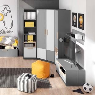 Armoire d'angle grise pour adolescent Pok dans une chambre ado