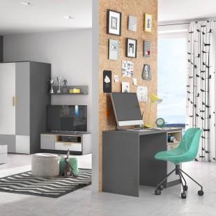 Meuble TV graphite Pok dans une chambre ado