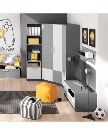 Meuble TV graphite Pok dans une chambre enfant