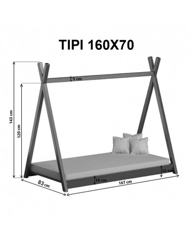 Dimensions du lit Tipi 160x70