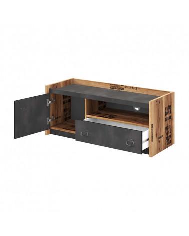 meuble tv fargo design metal et bois pour chambre ado style industriel