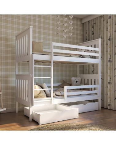 Lit superposé blanc 90x190 cm Bruno pour enfant