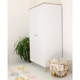 Armoire 2 portes SCANDI blanc et bois pour chambre bébé et enfant