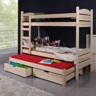 Lit enfant superposé SEVERINE avec lit gigogne - 3 couchages