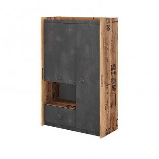 Petite armoire FARGO design métal et bois industriel