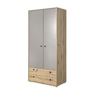 Armoire 2 portes KUKO en chêne artisan et gris pour chambre ado