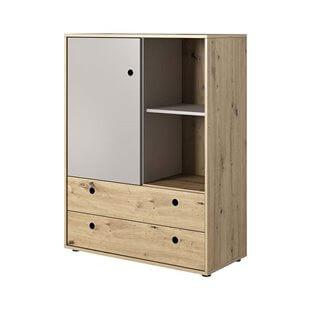 Commode haute 2 tiroirs KUKO en chêne artisan et gris pour chambre ado
