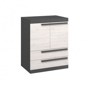 Commode avec tiroirs de rangement TREND en pin andersen et graphite pour chambre ado