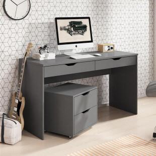 Bureau avec 2 tiroirs MATI et caisson en graphite