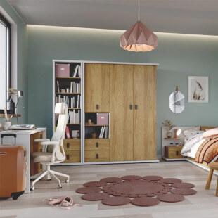 Chambre complète de la collection MASSI avec bureau, lit, table de chevet et armoire 3 portes.