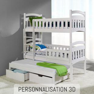 Lit superposé 3 couchages en bois personnalisable DOMI 3 - 3D