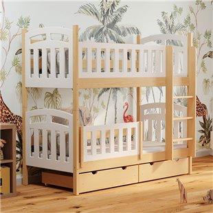 Lit superposé blanc et bois avec barrière anti-chute