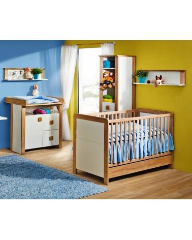 Chambre bébé avec une Étagère Lara Chêne