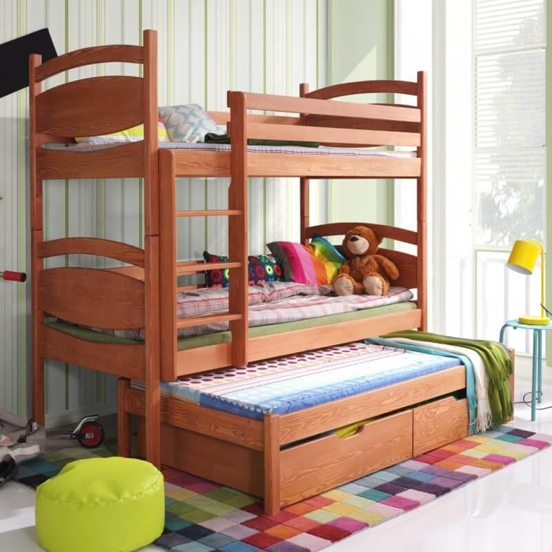 lit enfant superpos c sar 3 couchages aulne. Black Bedroom Furniture Sets. Home Design Ideas