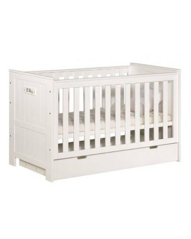 Lit Bébé Blanco Barcelone blanc avec tiroir de lit