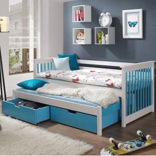 Lit enfant Sirius Blanc et bleu avec lit Gigogne