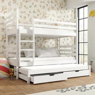 Lit Superposé Tomi - 3 couchages - Blanc