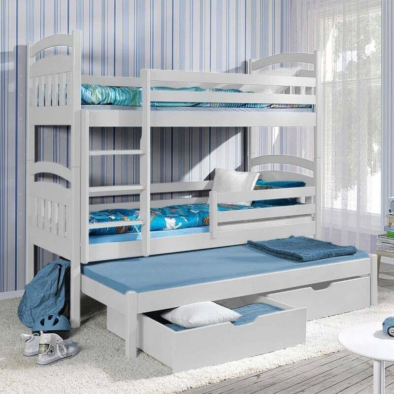 Lit superpos jack iii avec lit gigogne 3 couchages blanc - Lit superpose avec lit gigogne ...