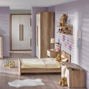 Chambre enfant avec coffre à jouets Terra couleur Chêne canyon