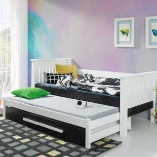 Lit TELMO avec lit d'appoint couleur Blanc et Graphite
